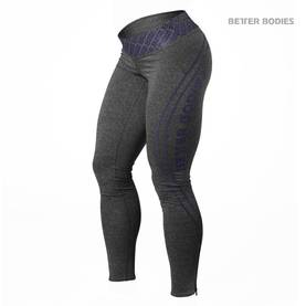 Better Bodies - Shaped Logo Tights, Antracite Melange / Purple - Better Bodies housut - 01411 - 1