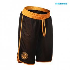 Better Bodies - Womens Mesh Shorts, Black/Orange - Better Bodies shortsit - 06331 - 1