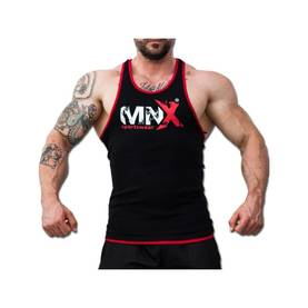 MNX Sportswear - Tank Top Ribbed, Black / Red - MNX Sportwear tank topit - 01833 - 1
