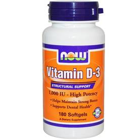 Vitamin D3, 1000 IU, 180 softgels.NOW Foods - Vitamiinit - 01793 - 1