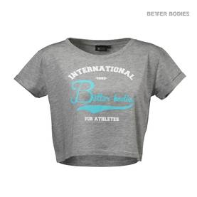 Better Bodies - Cropped Tee, Grey Melange - Better Bodies t-paidat - 01755 - 1