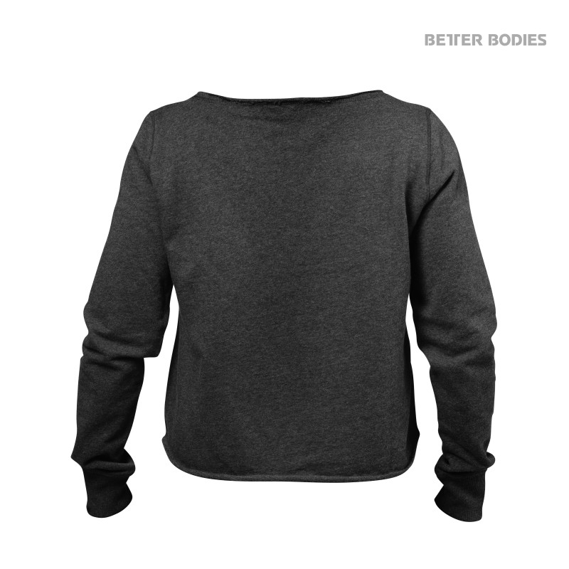 Better Bodies - Cropped Sweater, Antracite Melange - Better Bodies pitkähihaiset - 00077 - 2