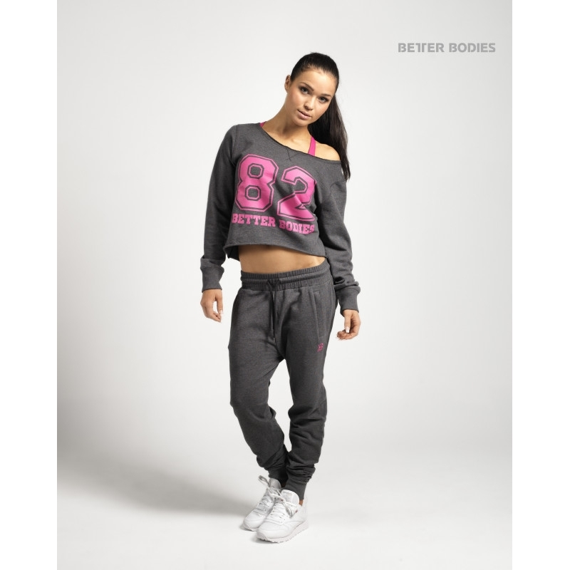 Better Bodies - Cropped Sweater, Antracite Melange - Better Bodies pitkähihaiset - 00077 - 3