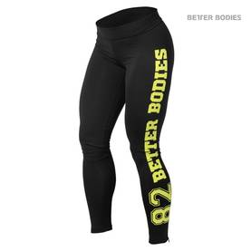 Better Bodies - Varsity Tights, Black/Lime - Better Bodies housut - 01758 - 1