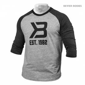 Better Bodies - Mens Baseball Tee, Grey Melange / Antracite Melange - Better Bodies hupparit ja takit - 02029 - 1
